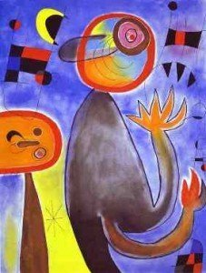 Joan Miró, Ladders Cross The Blue Sky in a Wheel of Fire 1953